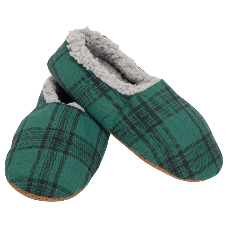 Green Plaid Mens Plush Lined Cozy Non Slip Indoor Soft Slippers - Small