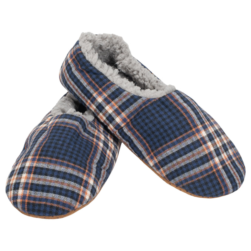 Navy Plaid Mens Plush Lined Cozy Non Slip Indoor Soft Slippers - Large