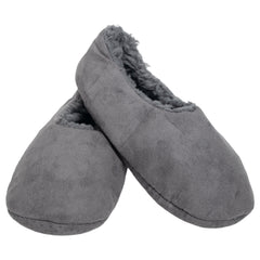 Grey Solid Tone Mens Plush Lined Cozy Non Slip Indoor Soft Slippers - Small