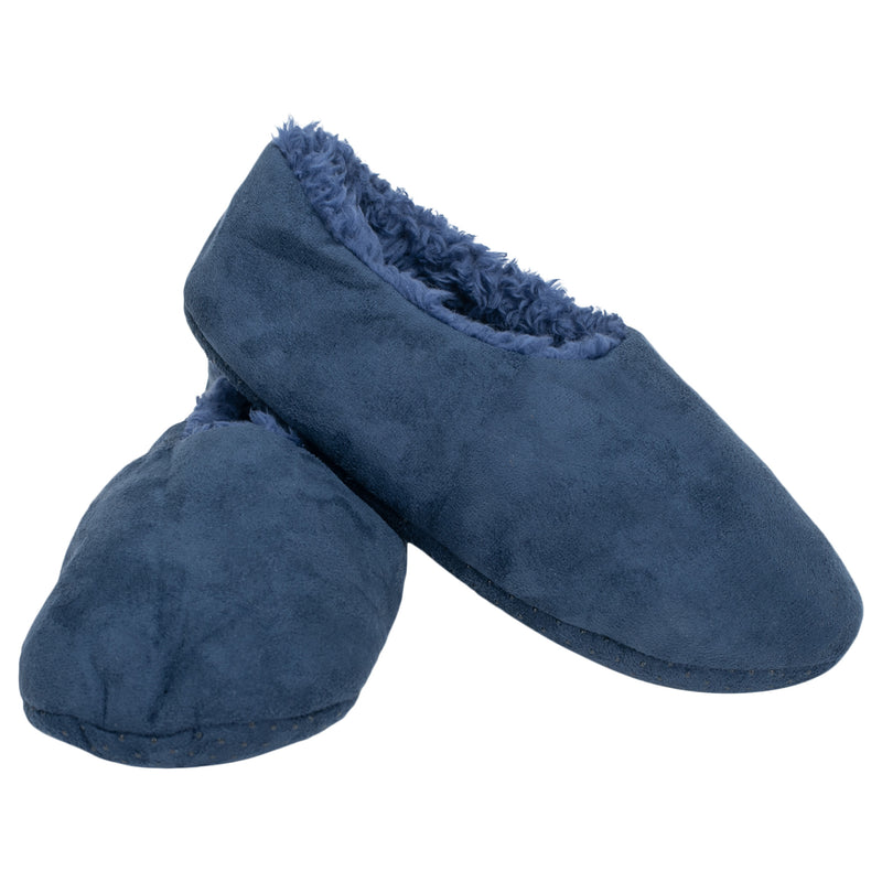 Navy Solid Tone Mens Plush Lined Cozy Non Slip Indoor Soft Slippers - Small