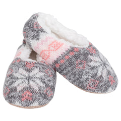 Pink Grey Nordic Snow Womens Plush Lined Cozy Non Slip Indoor Soft Slippers - Medium