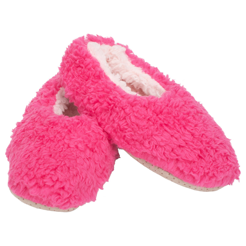 Hot Pink Two Tone Womens Plush Lined Cozy Non Slip Indoor Soft Slippers - Medium