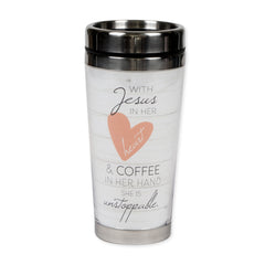 With Jesus and Coffee She is Unstoppable 16 Ounce Stainless Steel Travel Tumbler Mug