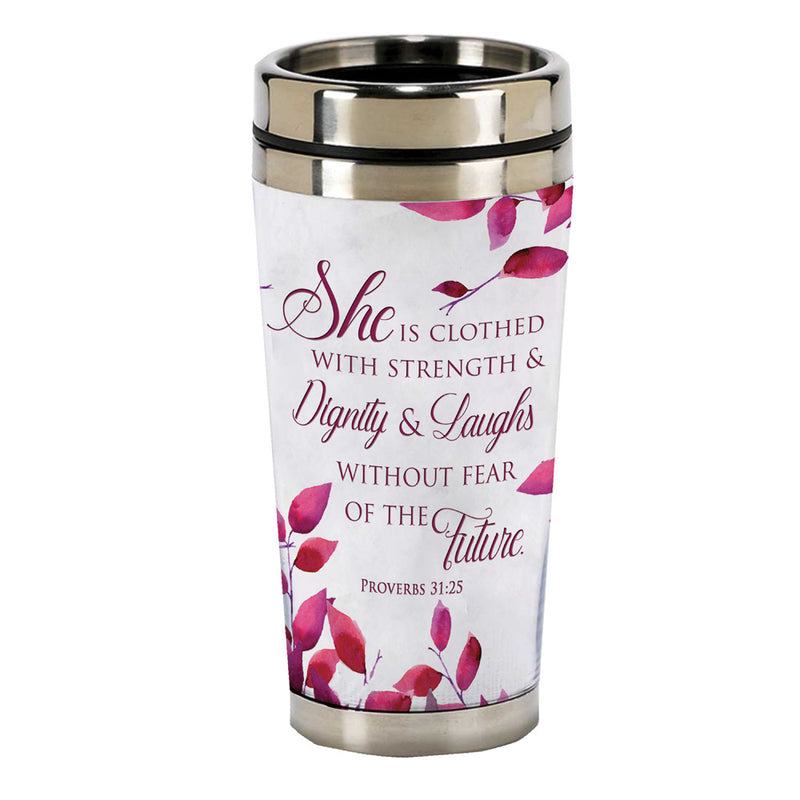 Proverbs 31 Woman 16 Ounce Stainless Steel Travel Mug with Lid