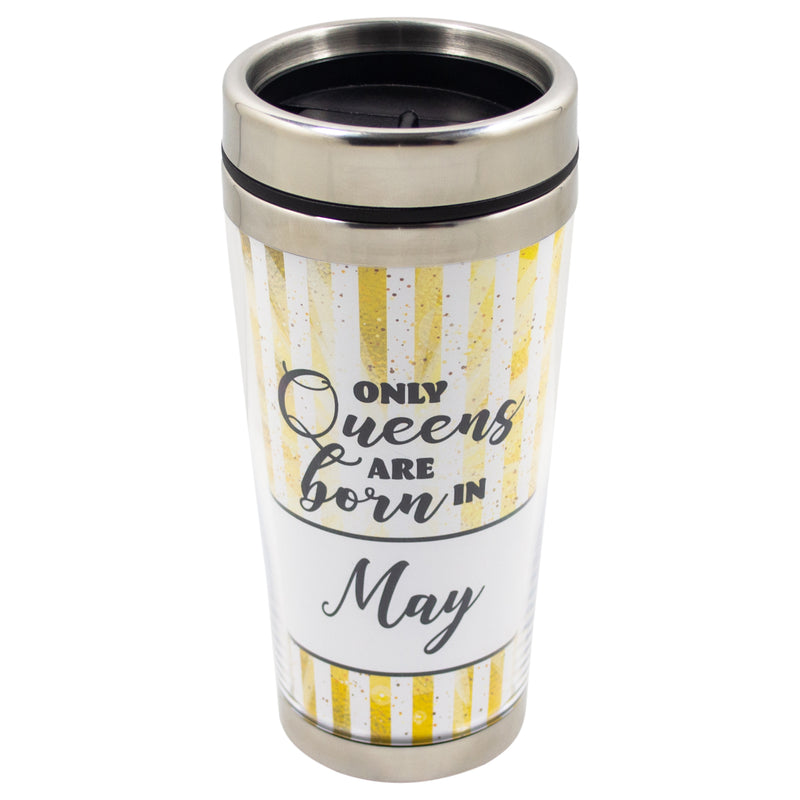 Queens Born May Yellow Striped 16 Ounce Stainless Steel Travel Tumbler Mug with Lid