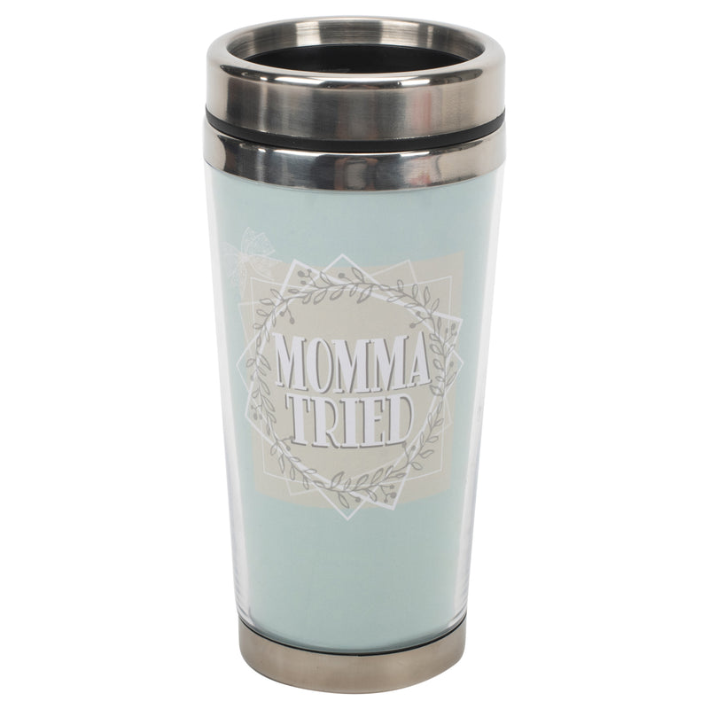 Momma Tried Soft Blue 16 ounce Stainless Steel Travel Tumbler Mug with Lid