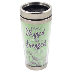 Too Blessed Stressed Mess Green 16 Ounce Stainless Steel Travel Tumbler Mug with Lid