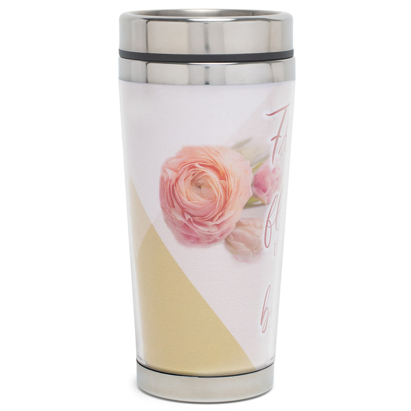 Friends Are Flowers Soft Pink Floral 16 Ounces Stainless Steel Travel Tumbler