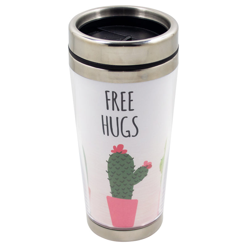 Free Hugs Green Cactus 16 Ounce Stainless Steel Travel Tumbler Mug with Lid