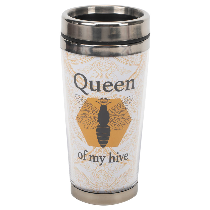 Queen of My Hive Bumble Bee Yellow 16 ounce Stainless Steel Travel Tumbler Mug with Lid