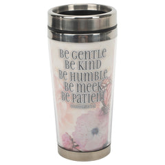 Kind Humble Meek Patient Pink Floral 16 ounce Stainless Steel Travel Tumbler Mug with Lid