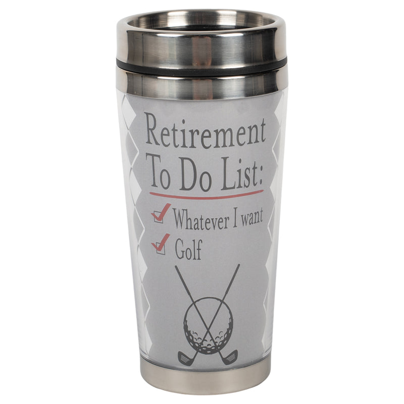 Retirement To Do List Grey Golf 16 ounce Stainless Steel Travel Tumbler Mug with Lid