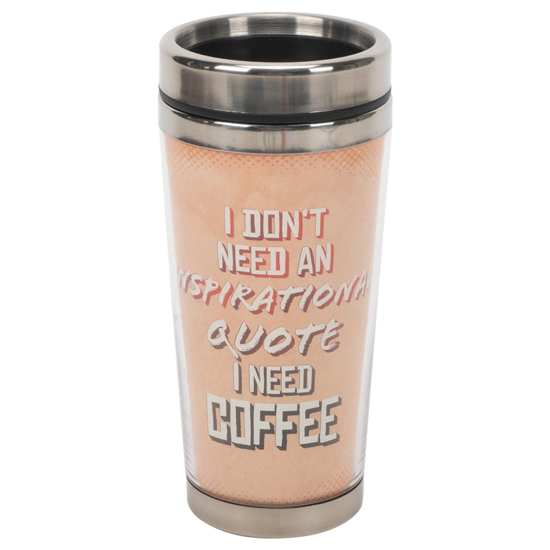 Need Inspirational Coffee Peach 16 ounce Stainless Steel Travel Tumbler Mug with Lid