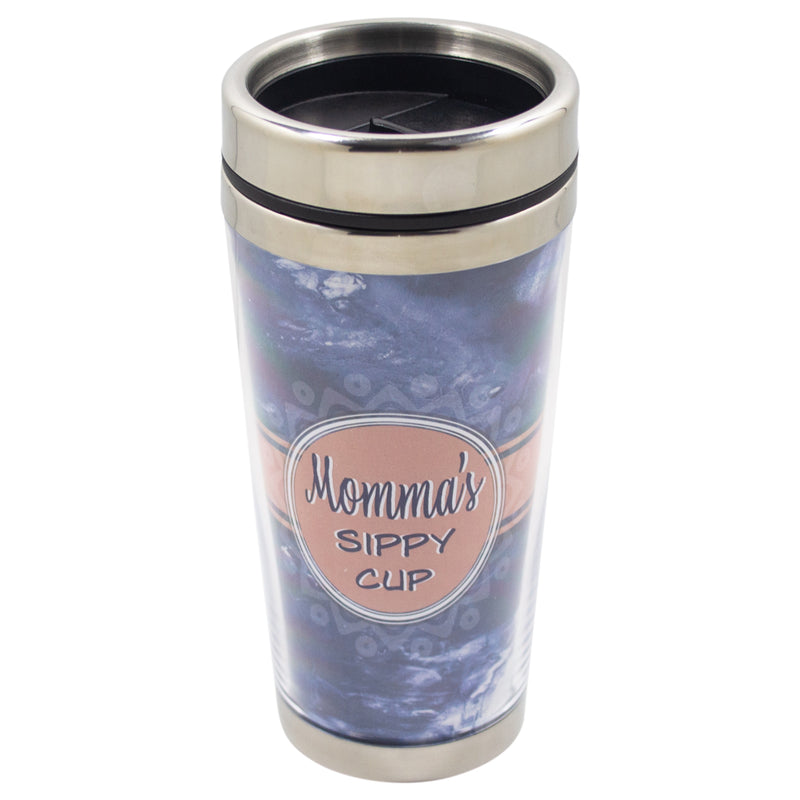 Momma's Sippy Cup Sky Blue 16 Ounce Stainless Steel Travel Tumbler Mug with Lid