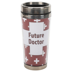 Future Doctor Maroon White 16 ounce Stainless Steel Travel Tumbler Mug with Lid