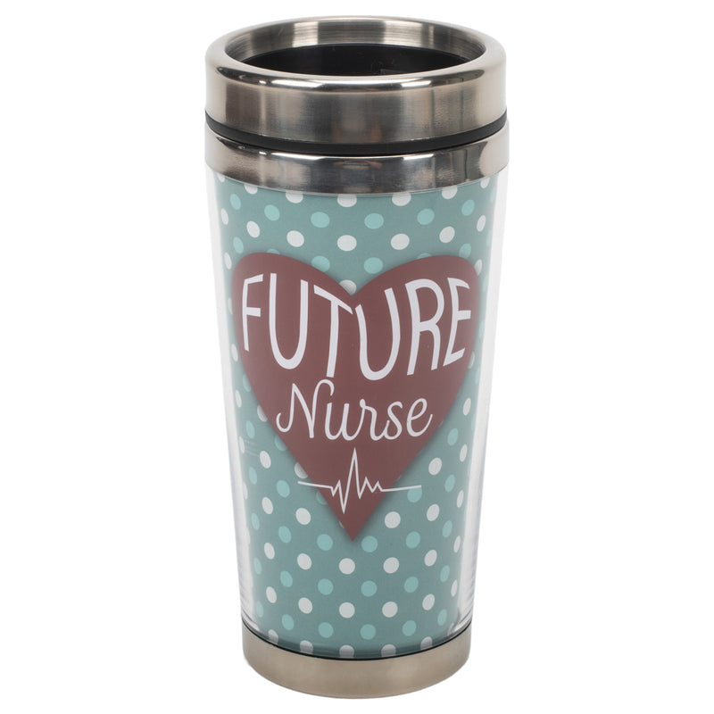 Future Nurse Blue Polka Dot 16 ounce Stainless Steel Travel Tumbler Mug with Lid