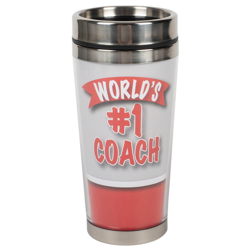 World's #1 Coach Red 16 ounce Stainless Steel Travel Tumbler Mug with Lid