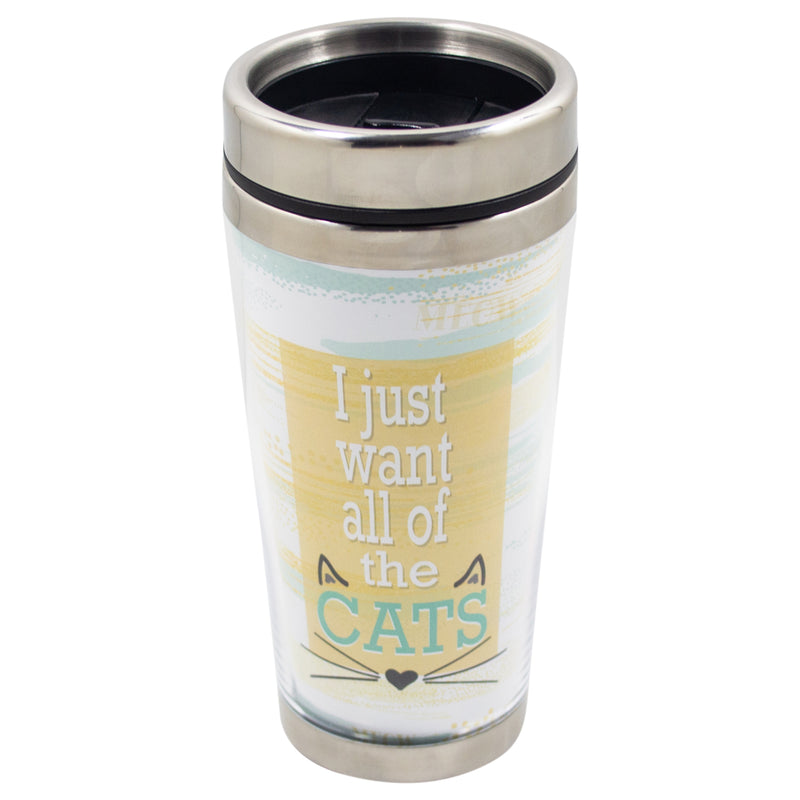 Want All The Cats Yellow Stripe 16 Ounce Stainless Steel Travel Tumbler Mug with Lid