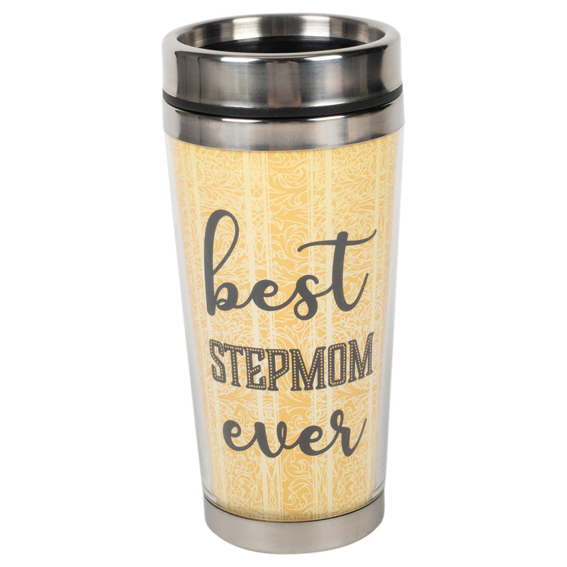 Best Step Mom Ever Yellow Paisley 16 ounce Stainless Steel Travel Tumbler Mug with Lid
