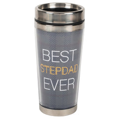 Best Step Dad Blue Plaid 16 ounce Stainless Steel Travel Tumbler Mug with Lid