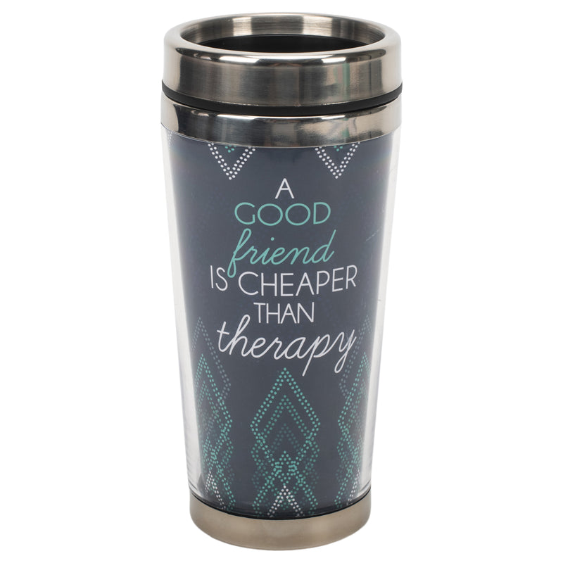 Good Friend Cheaper Therapy Blue 16 ounce Stainless Steel Travel Tumbler Mug with Lid