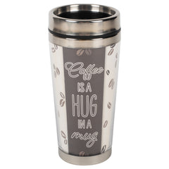 Coffee Hug In A Mug Grey 16 ounce Stainless Steel Travel Tumbler Mug with Lid