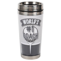 World's #1 Golf Coach Grey 16 ounce Stainless Steel Travel Tumbler Mug with Lid