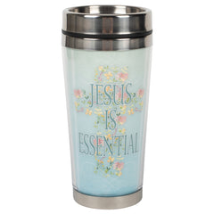 He Is Essential Soft Sky Blue Floral 16 ounce Stainless Steel Travel Tumbler Mug with Lid