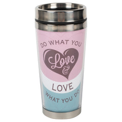Do What You Love What You Do Purple 16 ounce Stainless Steel Travel Tumbler Mug with Lid