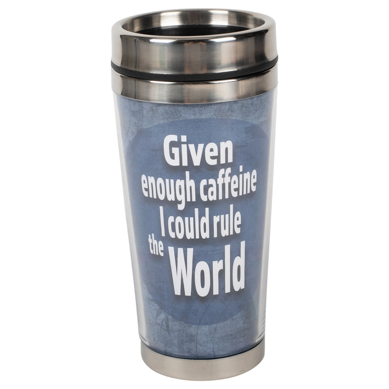Enough Caffeine Could Rule World Blue 16 ounce Stainless Steel Travel Tumbler Mug with Lid