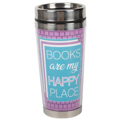 Books Happy Place Purple Brick 16 ounce Stainless Steel Travel Tumbler Mug with Lid