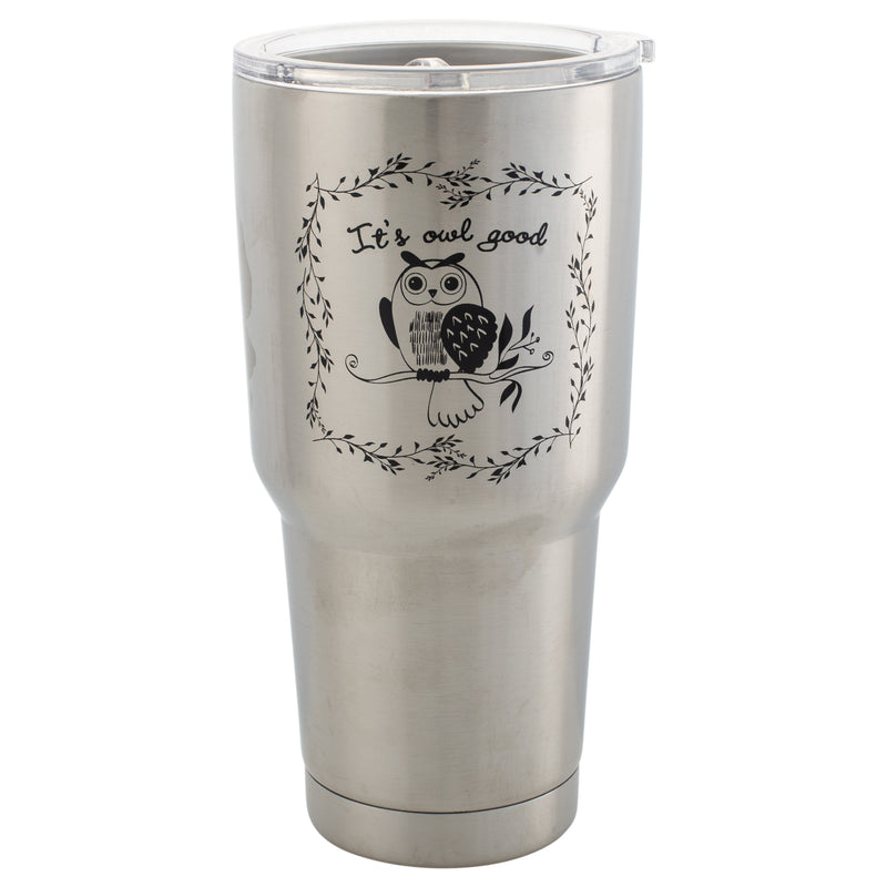 It's Owl Good Silver Tone 30 Oz Stainless Steel Travel Mug with Lid
