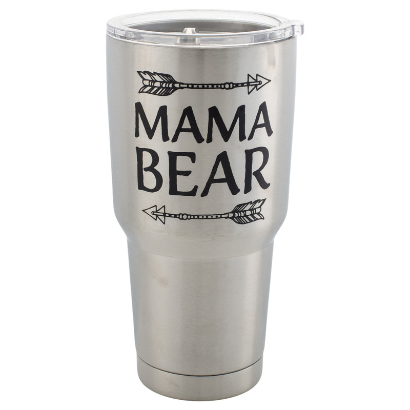 Mama Bear Arrow Silver Tone 30 Oz Stainless Steel Travel Mug with Lid