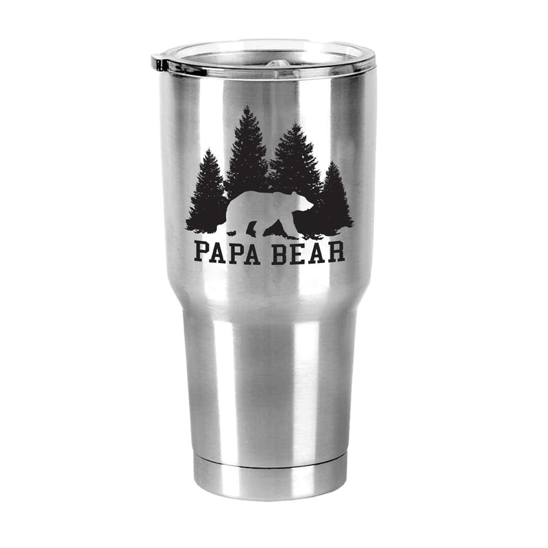 Papa Bear 30 Oz Stainless Steel Travel Mug with Lid
