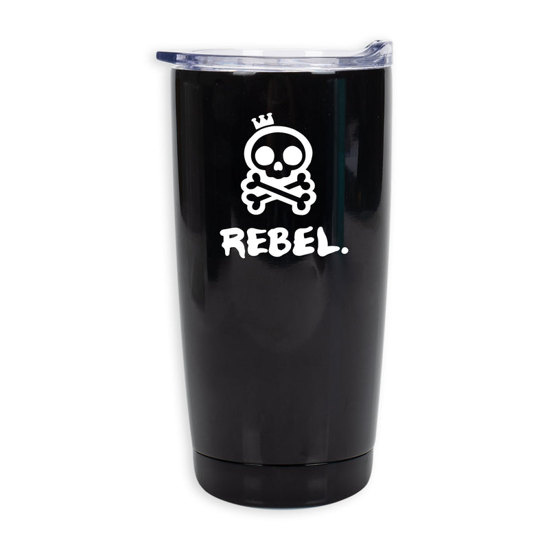 Rebel Solid Black 20 Ounce Stainless Steel Travel Tumbler Mug With Lid