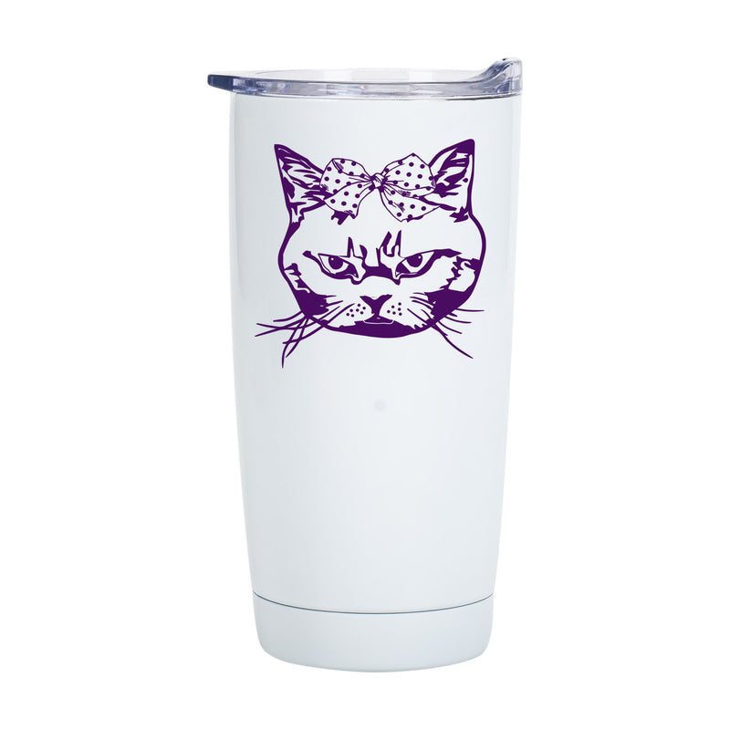 Oulined Cat Classic White 20 Ounce Stainless Steel Travel Tumbler Mug