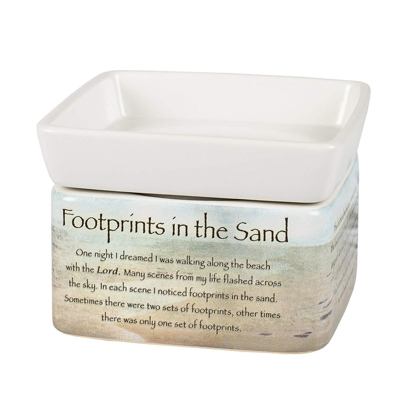 "2-in-1 Jar candle warmer with sentiment, ""Footrints in the sand"""