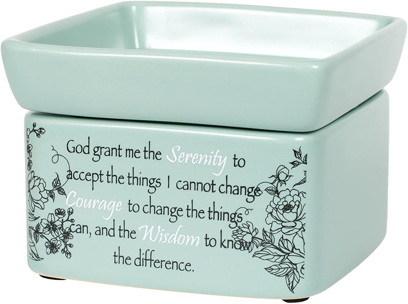 "2-in-1 Jar candle warmer with sentiment, ""Grant me Serenity..."""