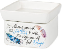 Refuge Under His Wings Feathers Stoneware Electric 2 in 1 Jar Candle and Wax Tart Oil Warmer