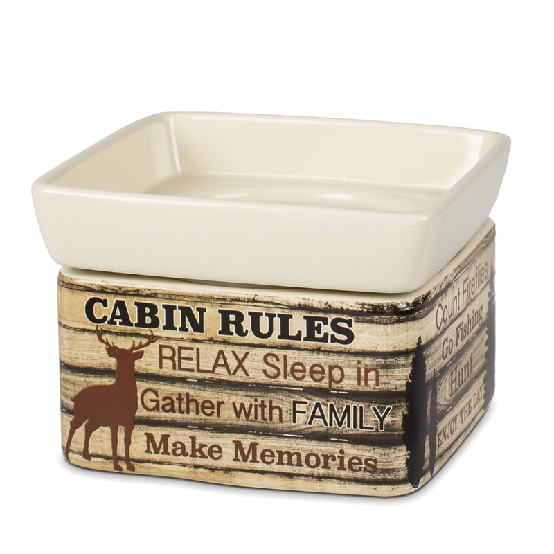 Cabin Rules Rustic Wood Outdoor Stoneware Electric 2 in 1 Jar Candle and Wax Tart Oil Warmer