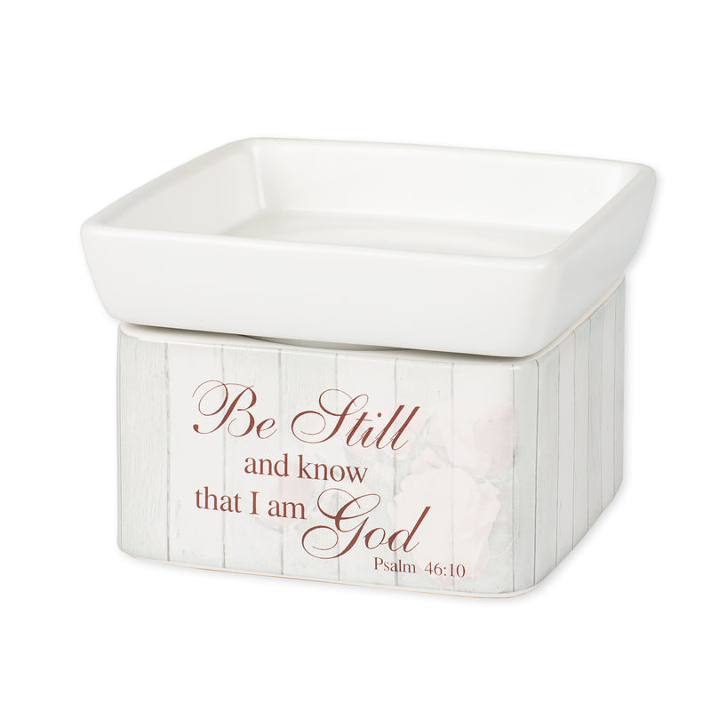 Be Still and Know Distressed Stoneware Electric 2 in 1 Jar Candle and Wax Tart Oil Warmer
