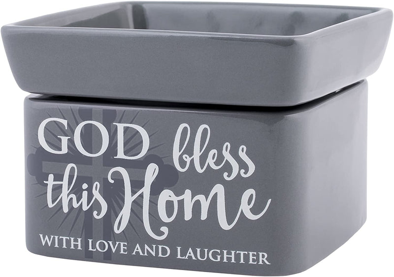 "2-in-1 Jar candle warmer with sentiment, ""God bless this Home"""