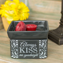 Always Kiss Me Goodnight Charcoal Grey Ceramic Stone 2-In-1 Jar Candle and Wax Tart Oil Warmer