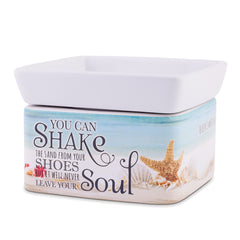 Shake Sand from Shoes Beach and Ocean Stoneware Electric 2-In-1 Jar Candle and Wax Tart Oil Warmer