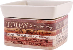 Today Aspire Change World Wood Look Stoneware Electric 2-In-1 Jar Candle and Wax Tart Oil Warmer