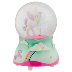 Flying Rainbow Unicorn 80MM Musical Water Globe Plays Tune The Unicorn