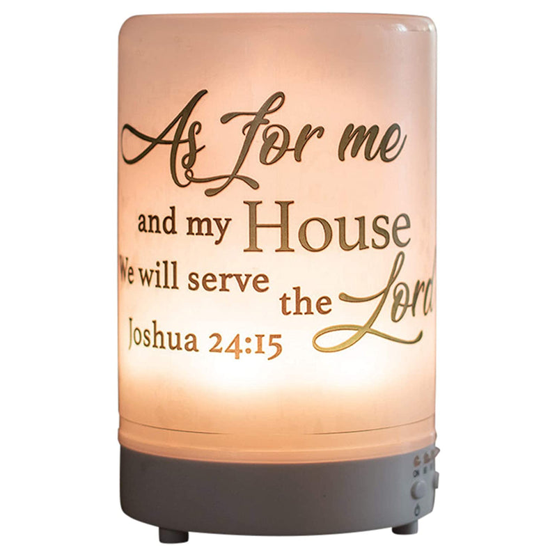 As For Me and My House Inspirational 8 Colored LED Light 5.75 x 3.5 Frosted Glass Essential Oil Diffuser