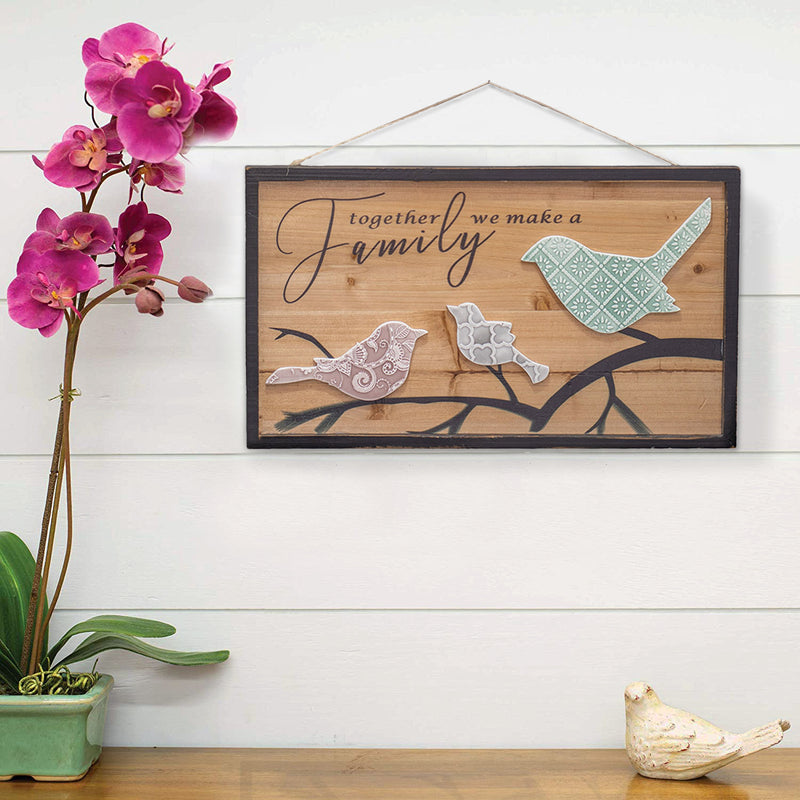 Together We Make a Family Embossed Grey Birds 19 x 10.75 Natural Wood Decorative Hanging Wall Sign