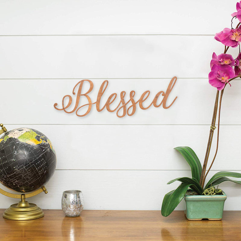 Blessed Copper Finish 20.5 x 5.5 Hand-Twisted Inspirational Wall Art
