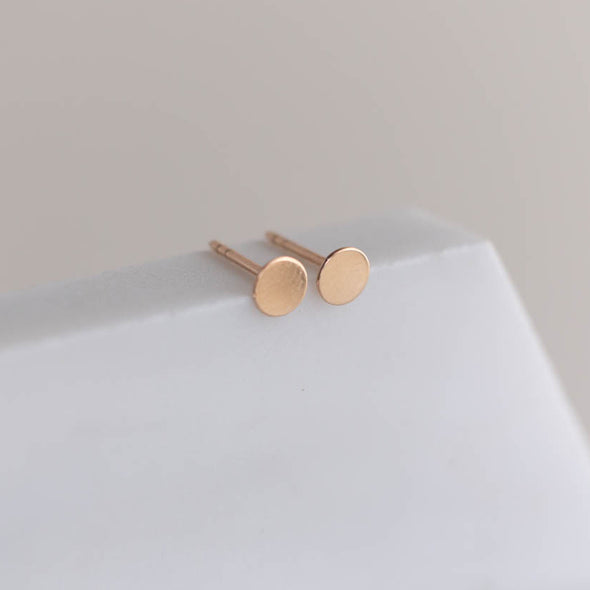 Solid 14k yellow gold disc earrings